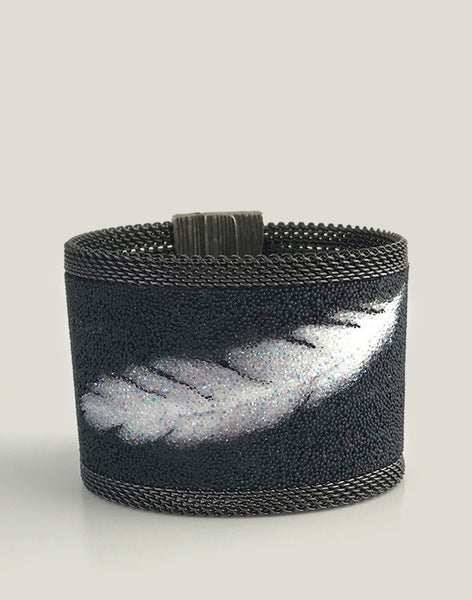 Exclusive Swarovski Crystal Shimmering Feather Magnetic Clasp Bracelet