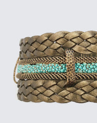 Detail shot of Soft Bronze Braided Leather and Turquoise Stingray Magnetic Clasp Bracelet