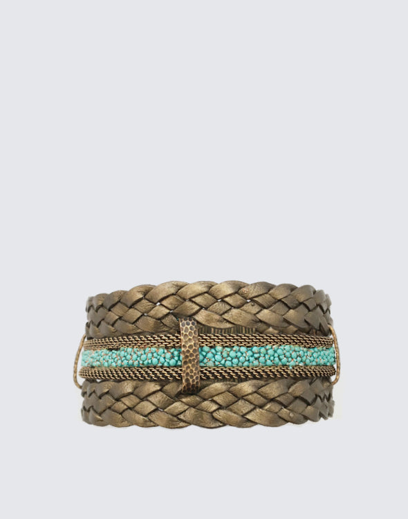 Front shot of Soft Bronze Braided Leather and Turquoise Stingray Magnetic Clasp Bracelet