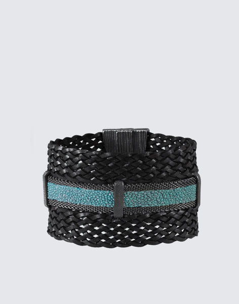 Braided Leather + Shimmery Stingray Turquoise Clasp Bracelet