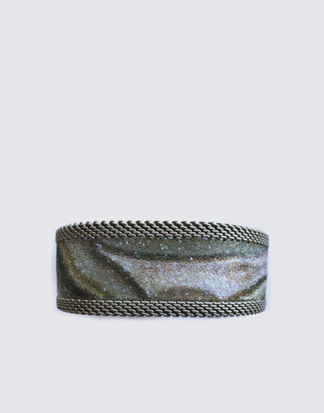Front shot of Exclusive Swarovski Crystal Botswana Magnetic Agate Cuff