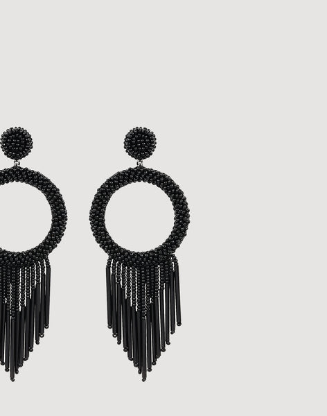 Detail shot of Juniper Earrings in Black
