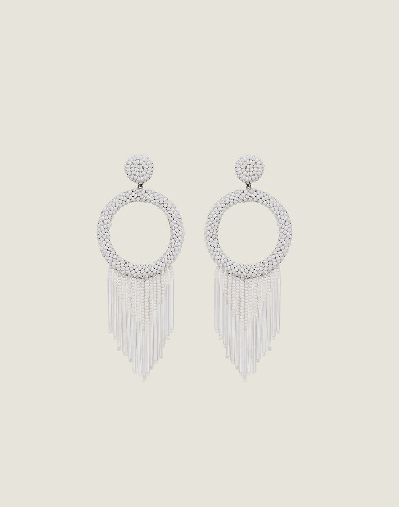 Front shot of Juniper Earrings in White