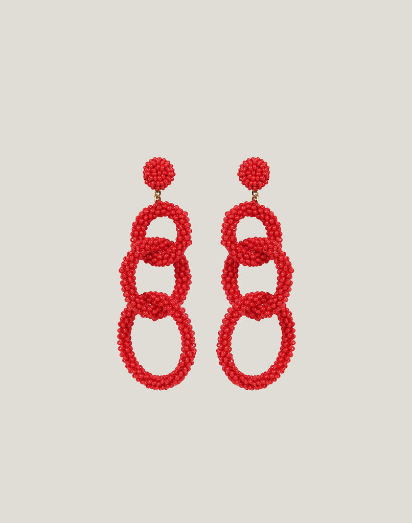 Front shot of Ember Earrings in Red