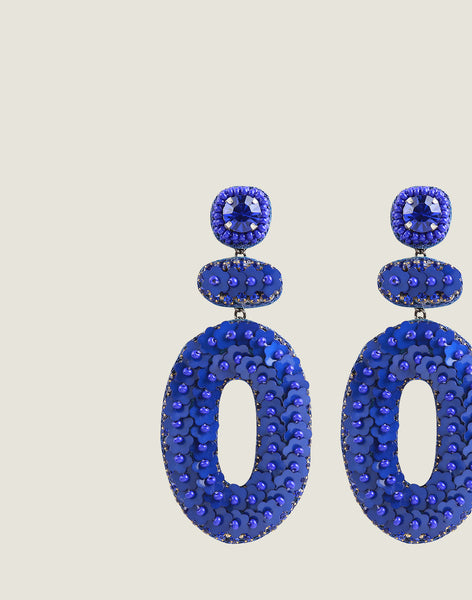 Detail shot of Britt Earrings in Blue