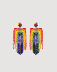 Front shot of Becka Earrings in Rainbow