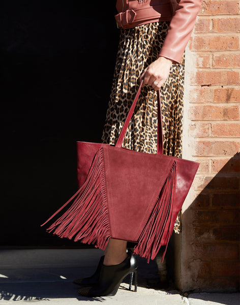 Model wearing Cascade Fringe Bag