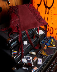 Bag spill of Cascade Fringe Tote in Burgundy