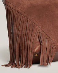 FRINGE ACCENT OF Cascade Fringe Hobo in Chocolate