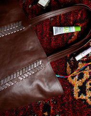 Bag spill of Laced Up Leather Tote in Chocolate