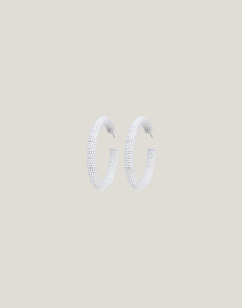 Front shot of Zaria Earrings in White