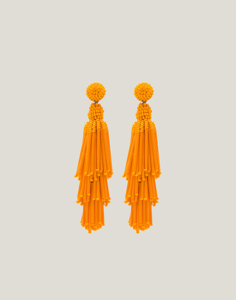 Front shot of the Rain Earrings in Orange