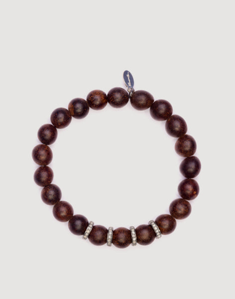 Front shot of Brown Agarwood Beaded Bracelet with Silver Pave Diamond Roundel