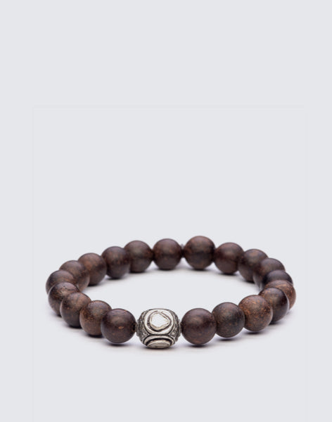 Brown Agarward Beaded Bracelet with Rose Cut Diamonds