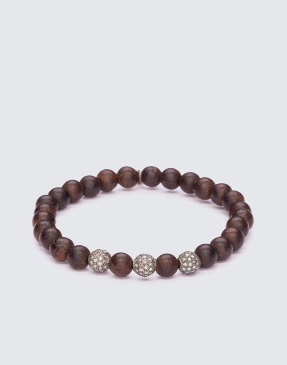 Brown Agarwood Beaded Bracelet with Pave Diamond Silver Ball