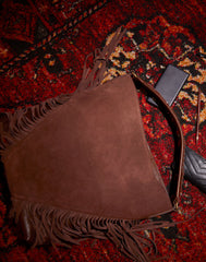 Flat lay of Cascade Fringe Hobo in Chocolate