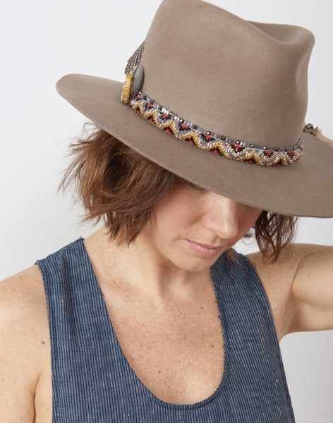 Model wearing Air, Earth, and Water Hand Beaded Hat