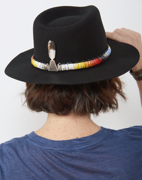 Back shot of Peace Fire Black Hand Beaded Hat
