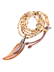 Side shot of Feathered Amber Necklace