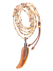 Front shot of Feathered Amber Necklace
