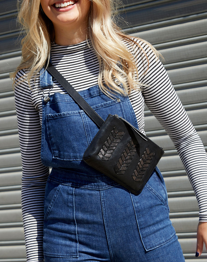 Model Wearing Laced up Zip Top Belt Bag