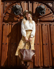 Laced Up Leather Tote in Chocolate