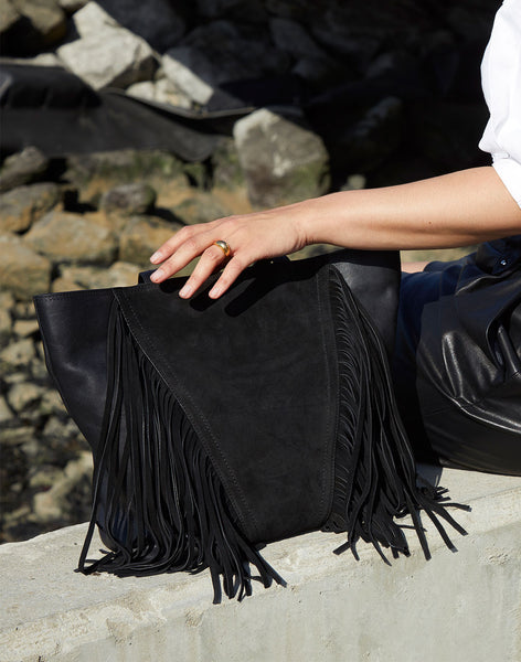 Cascade Fringe Tote in Black