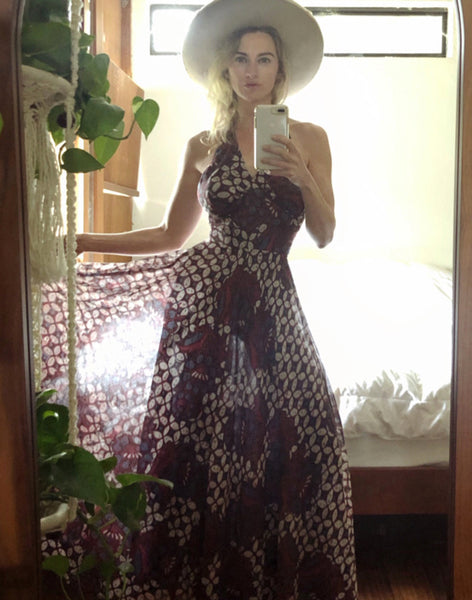 Model wearing One-of-a-Kind Batik Maxi Dress