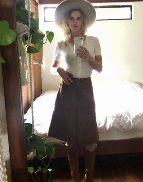 Model wearing One-of-a-Kind Suede Skirt