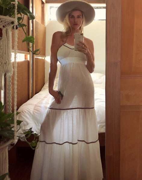 Model wearing One-of-a-Kind White Sundress