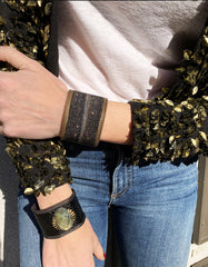 Alt. Model image wearing Black Galaxy Shimmer Stingray Cuff