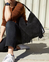 Model wearing Cascade Fringe Hobo in Black