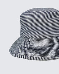 Side shot of The Vacation Hat in Navy Stripe