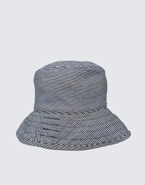 Front shot of The Vacation Hat in Navy Stripe