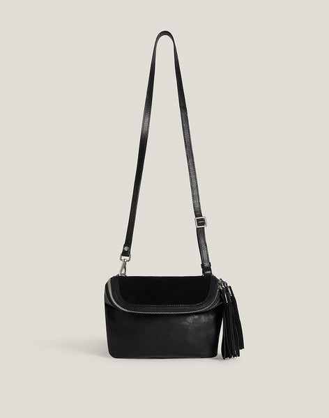 Front shot of Convertible Fringe Belt Bag in Black