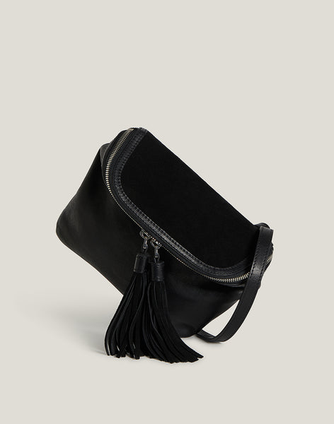 Convertible Fringe Belt Bag in Black