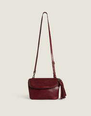 Convertible Fringe Belt Bag in Burgundy