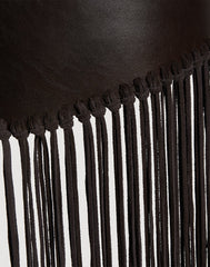 Detail shot of Cascade Fringe Belt in Chocolate