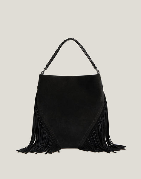 Front shot of Cascade Fringe Hobo in Black