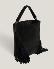 Side shot of Cascade Fringe Hobo in Black