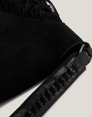 Detail shot of Cascade Fringe Hobo in Black