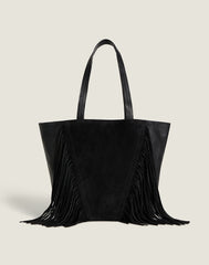 Front shot of Cascade Fringe Tote in Black