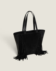 Side shot of Cascade Fringe Tote in Black