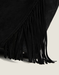 Detail shot of Cascade Fringe Tote in Black