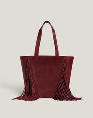 Front shot of Cascade Fringe Tote in Burgundy
