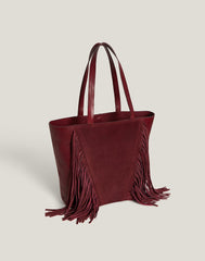 Side shot of Cascade Fringe Tote in Burgundy