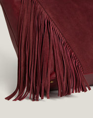 Detail shot of Cascade Fringe Tote in Burgundy