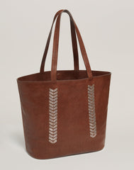 Front shot of Laced Up Leather Tote in Chocolate