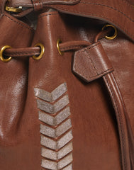 Detail of lace on Laced Up Leather Bucket in Chocolate
