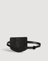 Laced Up Leather Belt Bag in Black